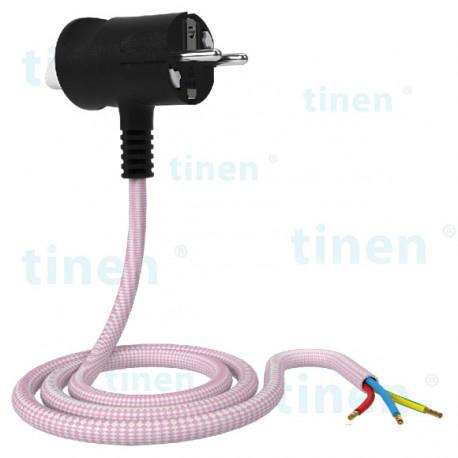 Wtyczka Tinen z przewodem w oplocie o dowolnej końcówce
